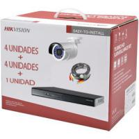 Kit De Videovigilancia Hikvision, DVR 4 Ch+1Ip, 4 Cámaras 1MP Bullet F3.6mm + HDD1T 4 Rollos 20Mt DS-J142I/7204HGHI-F1+4CAM