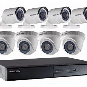 Kit De Videovigilancia Hikvision, DVR 8 Ch 1080p, Cámaras 2MP 4 domo + 4 Bullet + HDD1T 8 Rollos 18Mt DS-7208HGHI-F1 1080P + 8CAM
